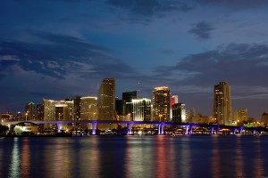 The Miami skyline at night