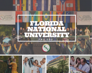 Florida National University collage with picture of graduation, soccer players, dental students and exterior of campus
