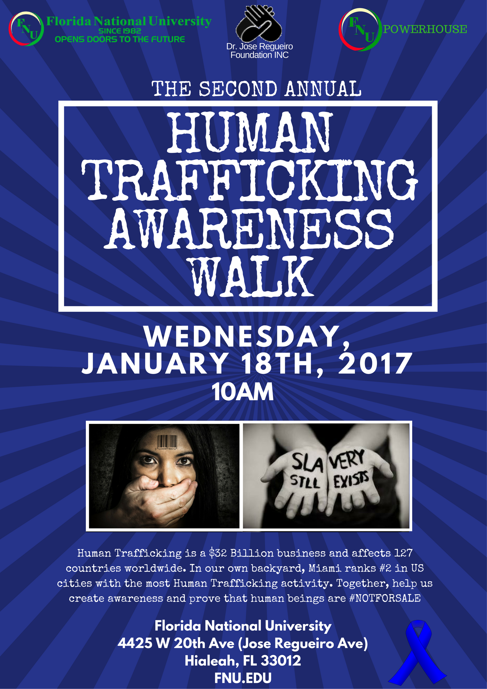 FNU Human Trafficking Awareness Flyer - Blue