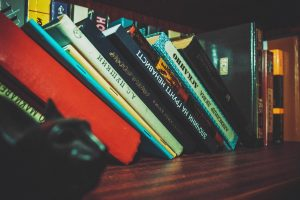 Books leaning over
