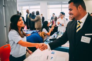 Shaking hands at job fair