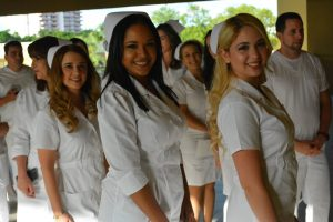 Nursing students posing