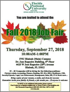 Fall 2018 job fair flyer