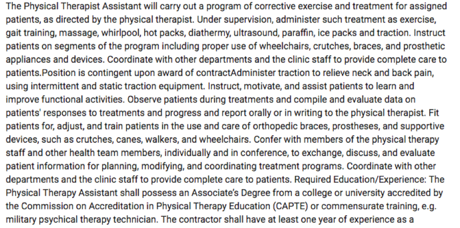 Skills Required in Job Postings for Physical Therapy Assistants