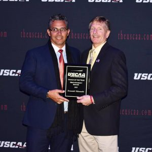 Fernando Valenzuela receiving the USCAA Coach of the Year Award.