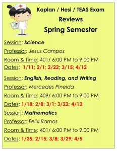 Florida National University Tutoring Schedule Spring A for the Kaplan, Hesi and TEAS exams