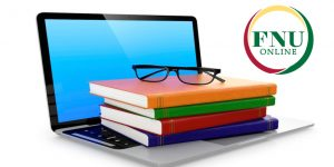 FNU Online logo with Laptop and Textbooks