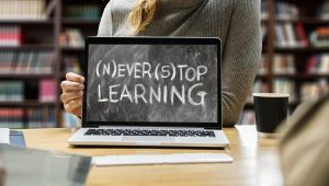 never stop learning written on a laptop
