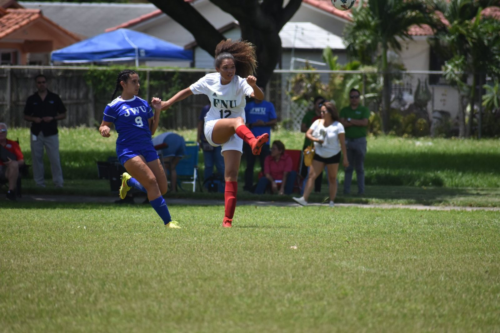 FNU player kicking the ball during the game