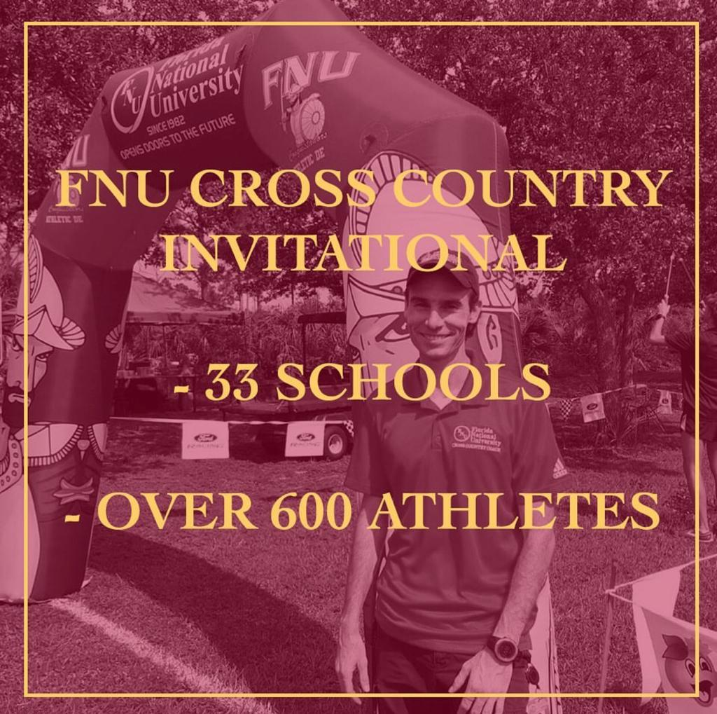 FNU Cross Country event picture with art saying more than 600 athletes