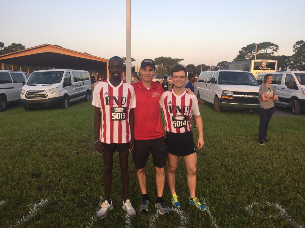 FNU Cross Country runners with coach