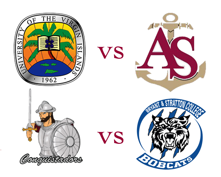 US Virgin Islands versus Aprentice School and Florida National vs Bryant and Stretton college logos