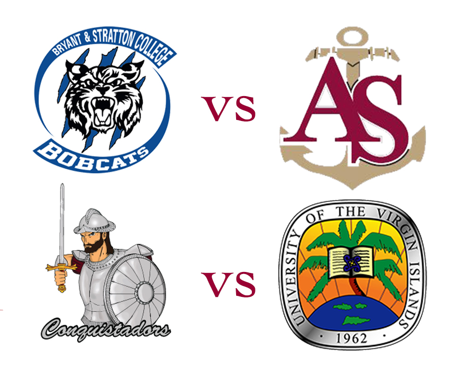 The Apprentice School vs Bryant Stratton College logo and UVI logo vs Florida National University logo