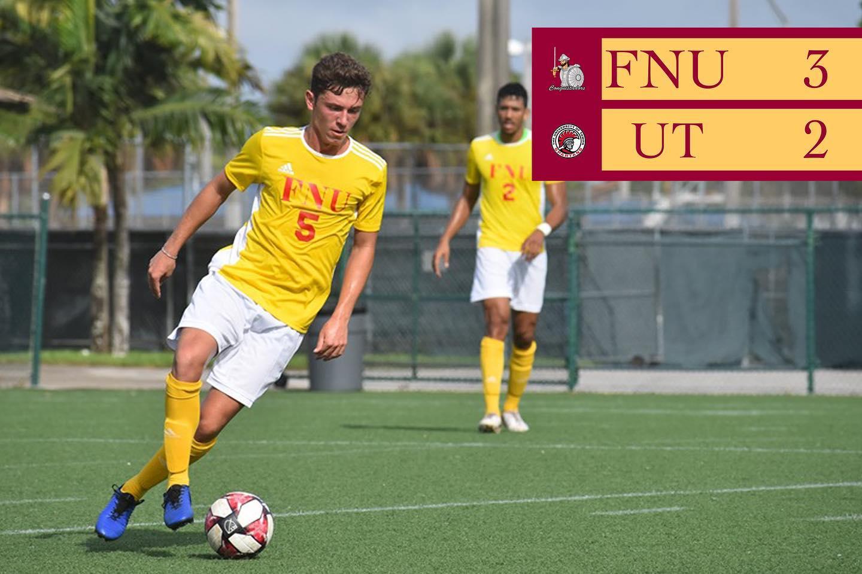 FNU Men's soccer player and scoreboard show FNU 3 UT2