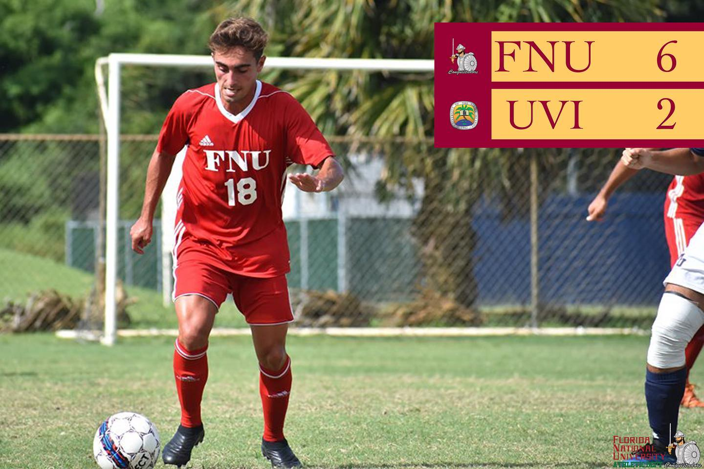 FNU men's soccer player and the score showing FNU 6 UVI 2