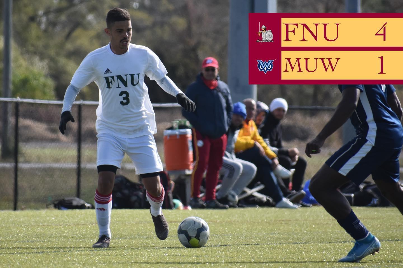 FNU Men's soccer player and the scoreboard shpows FNU 4 MUW 1