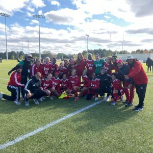 FNU Women's soccer team after the victory