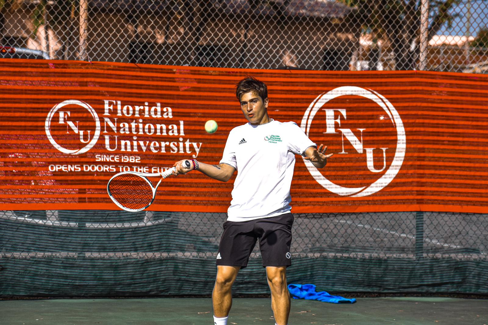 FNU men's tennis player Joaquim during the game