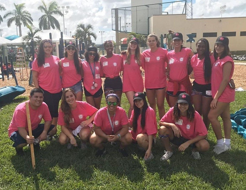 FNU Volleyball team working for the community