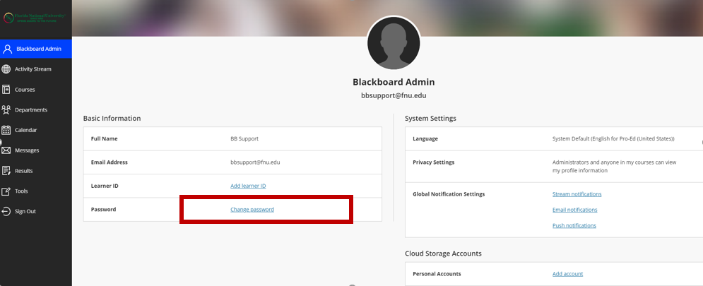How to change Blackboard Password