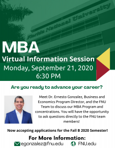 Meet Dr. Ernesto Gonzalez, Business and Economics Program Director, and the FNU Team to discuss our MBA Program and concentrations.