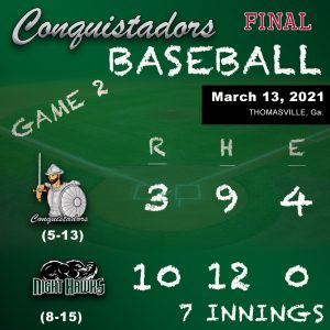 Baseball Results Graphic - 3/13/21