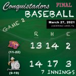 Baseball Results Graphic - 3/27/21
