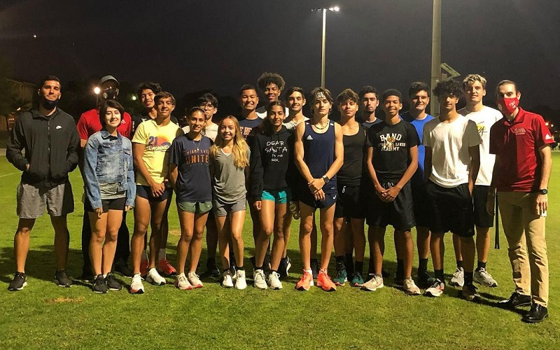 Group Picture of Community Outreach with Mater Lakes Track Team